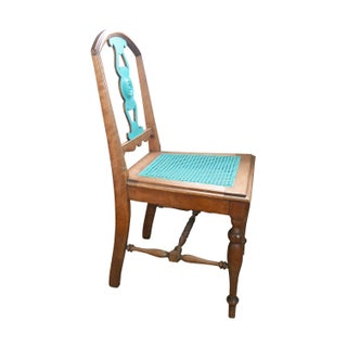 Antique Turquoise Cane Accent Chair