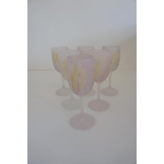 Arts & Crafts Rueven Watercolor Wine Glasses - Set of 6 For Sale - Image 3 of 6