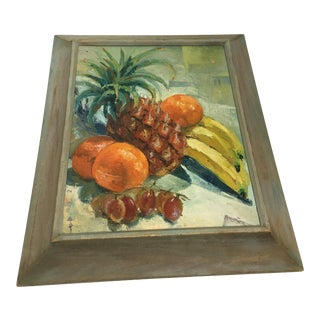 Tropical Fruit Still Life Oil Painting Boho Chic For Sale