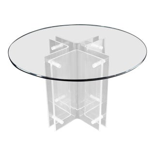 Bent Lucite Cross Shape Base Round Gueridon Centre Dining Table For Sale