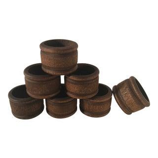 Vintage Wooden Napkin Rings - Set of 7