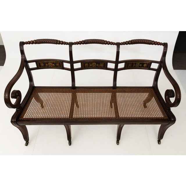 Hollywood Regency Early 19th Century Antique Regency Style Triple Back Settee For Sale - Image 3 of 13