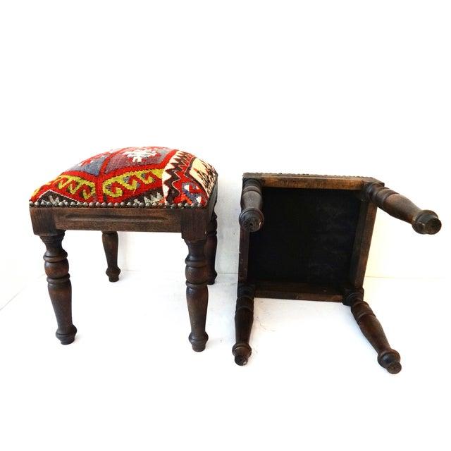 Orange Antique Caucasian Kilim Stools - Pair For Sale - Image 8 of 8