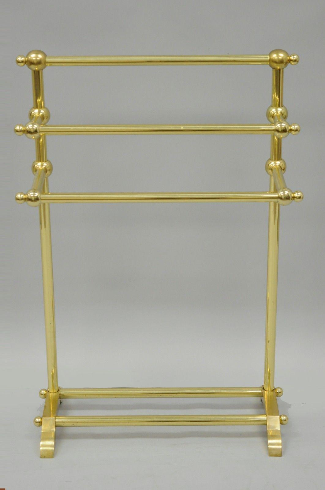 towel holder stand chrome traditional vintage solid polished brass victorian style bathroom towel rack stand holder gold for sale