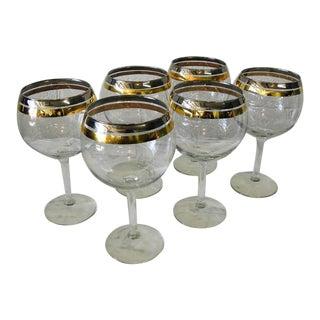 Vintage 1960s Gold & Silver Rimmed Glass Goblets - Set of 6 For Sale