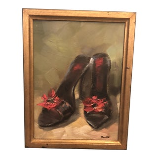 1980s Pair of Shoes Oil on Canvas Painting For Sale