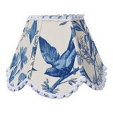 Image of Blue White Toile Floral Clip On Lamp Shade For Sale