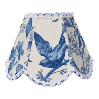 Blue White Toile Floral Clip On Lamp Shade For Sale