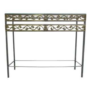 20th Century Polished Steel Console Table in the Style of Oscar Bach For Sale