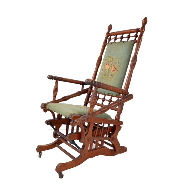 Antique Rocking Chair Hand Carved & Turned Walnut Wood Needlepoint Upholstery For Sale - Image 13 of 13