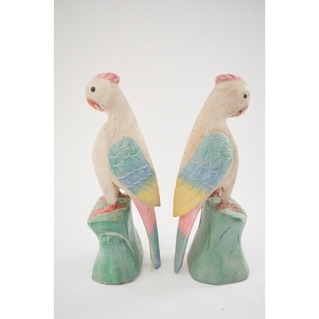 Children's 1970s Figurative Hand Carved Wooden Cockatoo Shelf Sitters - a Pair For Sale - Image 3 of 13