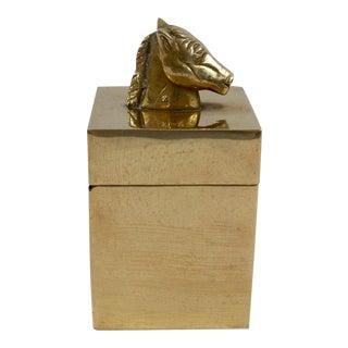 Vintage Equestrian Horse Head Top Brass Box