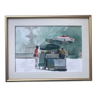 Vintage Watercolor Bethesda Fountain Central Park New York Food Stand by Harry Barton For Sale