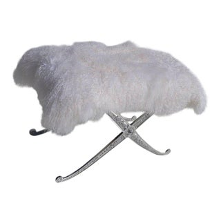 Hollywood Regency Style Bench in Polished Aluminum and Silky Fur For Sale