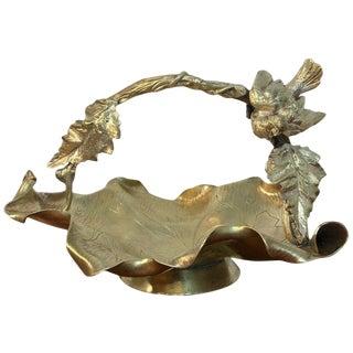 Austrian Gilt Bronze Bird Motif Basket For Sale