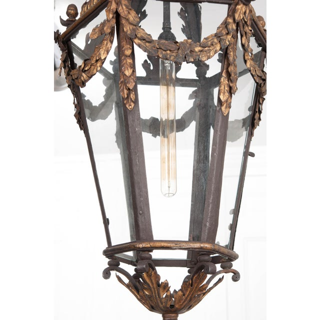 French 19th Century Iron and Gilt-Brass Single-Light Lantern For Sale - Image 9 of 13
