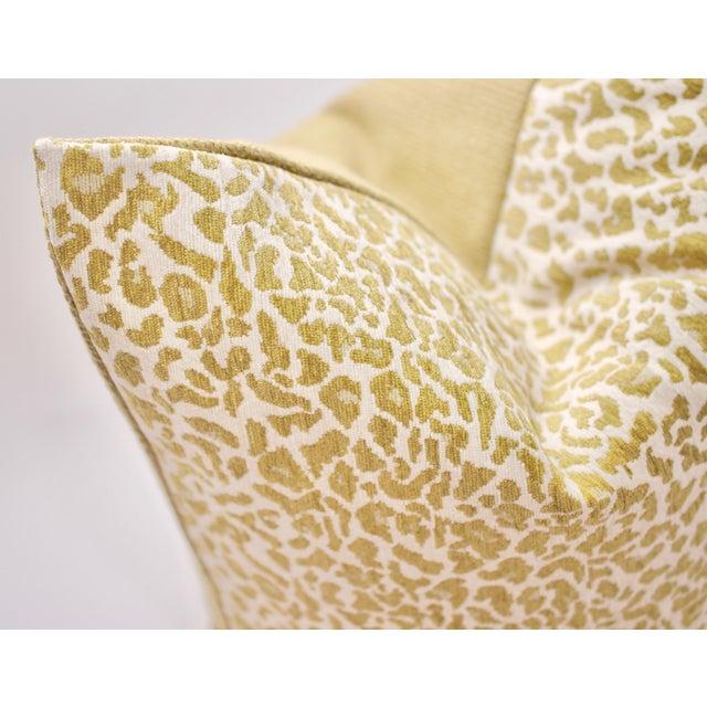 """Beautifully handmade 22"""" Square Bassett McNab Company Chenille Leopardskin pillow, backed in BMC's """"Haviland Cloth.""""..."""