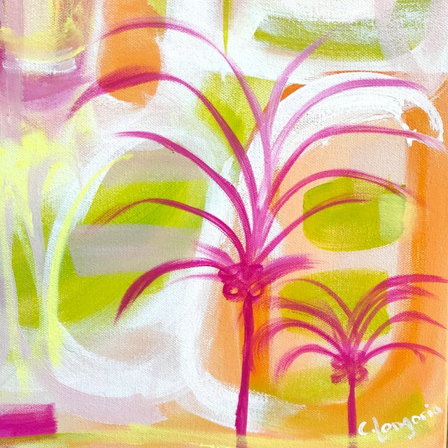 """""""Palms in Paradise"""" by abstract artist Christina Le Sesne Longoria. Original artwork completed in 2019, this piece is..."""