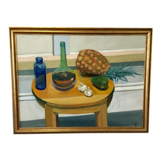 Vintage Still Life With Pineapple Oil Painting by Alf Svenson For Sale