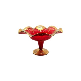 Red Glass Compote With Gold Detailing For Sale
