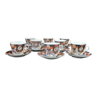 Late 19th Century Imari Japanese Finely Detailed Porcelain Coffee Tea Cup & Saucer - Set of 16 For Sale