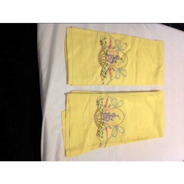 Never-Used Yellow Embroidered Pillowcases - A Pair - Image 2 of 5
