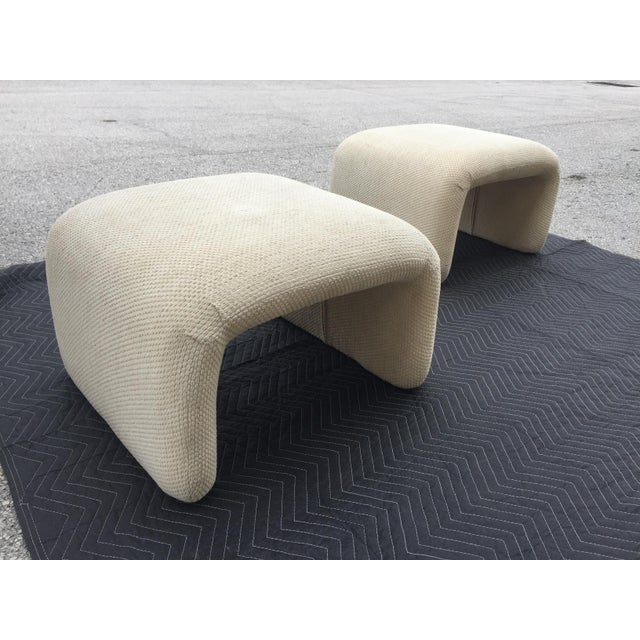 Wood 1970s Vintage Karl Springer Style Waterfall Benches- A Pair For Sale - Image 7 of 7