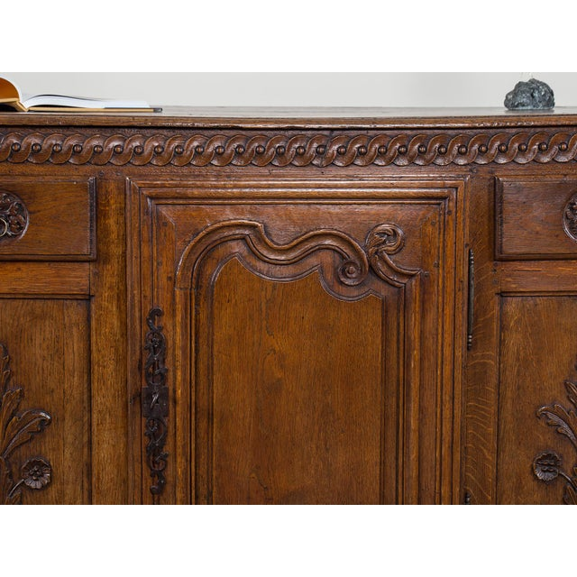 Mid 18th Century Mid 19th Century Antique French Louis XV Period Carved Oak Enfilade For Sale - Image 5 of 11