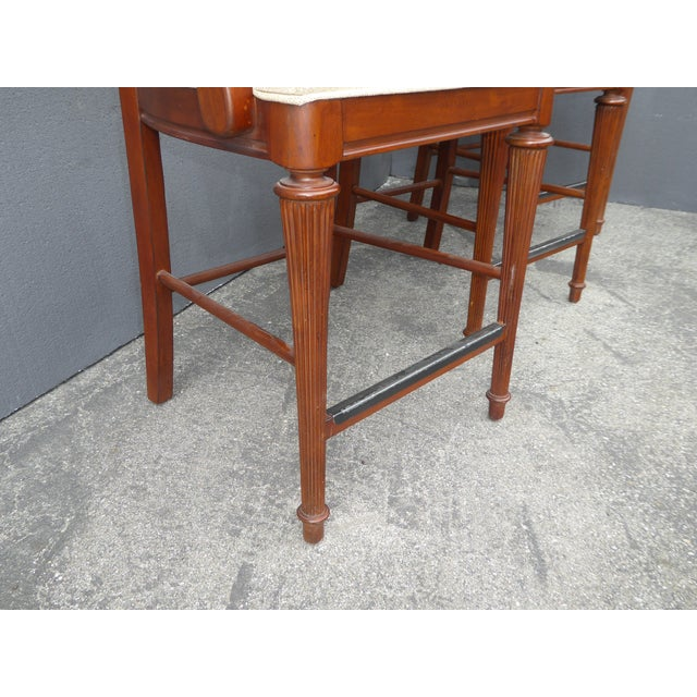 Stanley Furniture Palm Beach Style Rattan Bar Stools - Set of 3 - Image 10 of 13