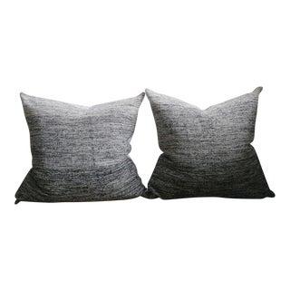 Scandinavian Ombre Rag Rug Cotton Pillows - a Pair