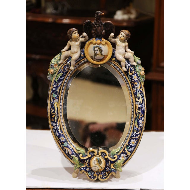 19th Century French Painted Ceramic Vanity Mirror With Cherub and Eagle Figures For Sale - Image 10 of 10