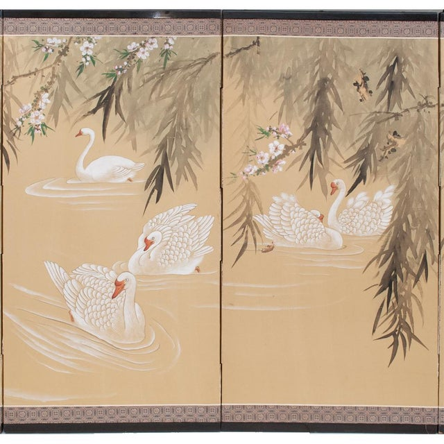 Asian C. 1940s Chinoiserie Swan Screen For Sale - Image 3 of 13