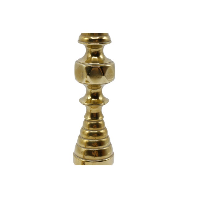 Mid 20th Century Gold Brass Candlesticks - a Pair For Sale - Image 5 of 8