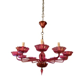 Vintage Cranberry Murano Glass 10 Armed Chandelier For Sale