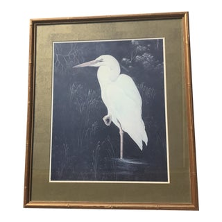 Resting Crane Print in Faux Bamboo Frame