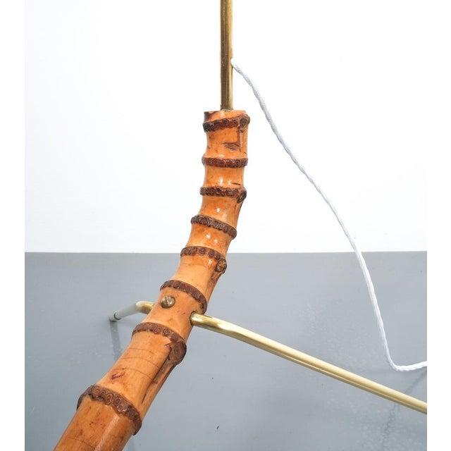 1950s Coconut Brass Bamboo Floor Lamp Attr. Kalmar, Austria 1950 For Sale - Image 5 of 11