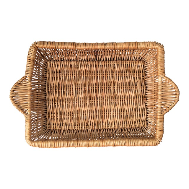 Vintage Boho Chic Wicker Tray Basket For Sale