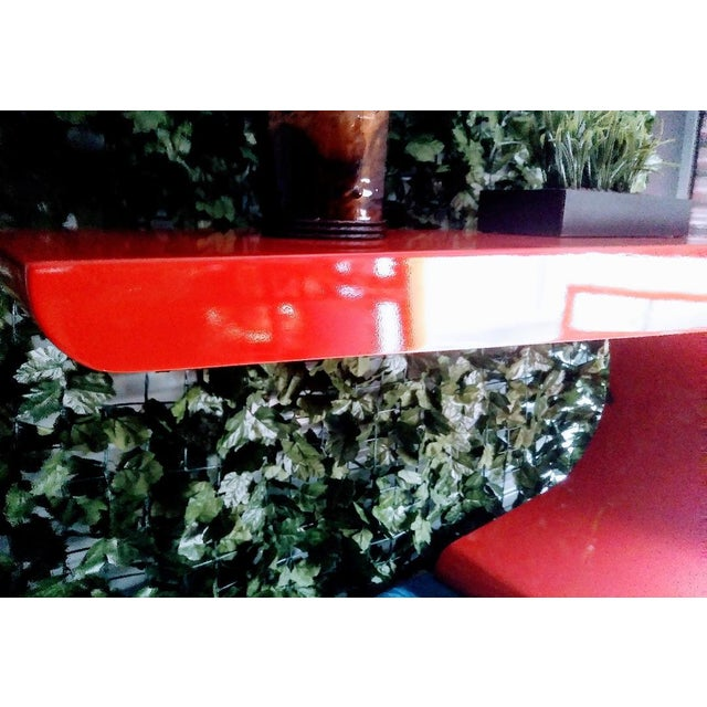 Red Vintage Karl Springer Cantilevered Red Lacquered Modern Wave Check Console Table For Sale - Image 8 of 9