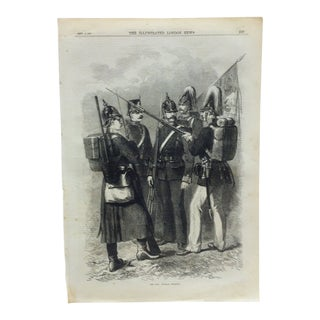 "Mid 19th C. Antique ""The War: Prussian Infantry"" Print For Sale"