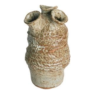 Vintage Brutalist 3 Spout Pottery Vase For Sale