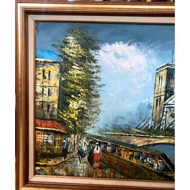 Late 20th Century Notre Dame and the Seine Framed Oil on Canvas Painting For Sale - Image 4 of 10