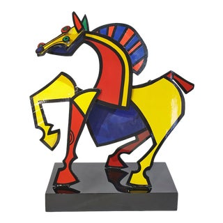 """Joseph Meerbott """"Horse"""" Metal Sculpture Signed and Dated For Sale"""