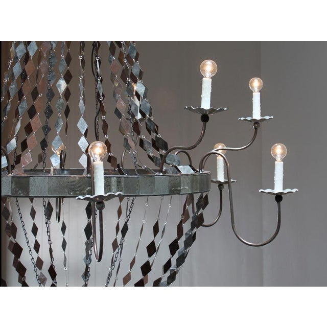 Boho Chic Metal & Mirror Margaret Chandelier For Sale - Image 3 of 4