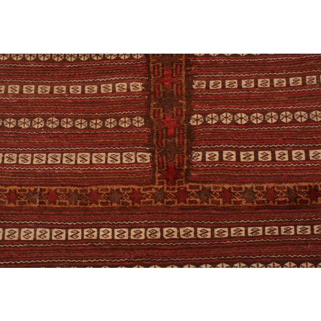 Rug & Kilim Antique Geometric Red and Brown Wool Kilim Rug For Sale - Image 4 of 6