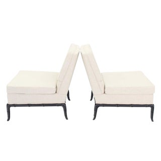 Pair of Faux Horn Shape Leg Bamboo Slipper Lounge Chairs New Upholstery For Sale