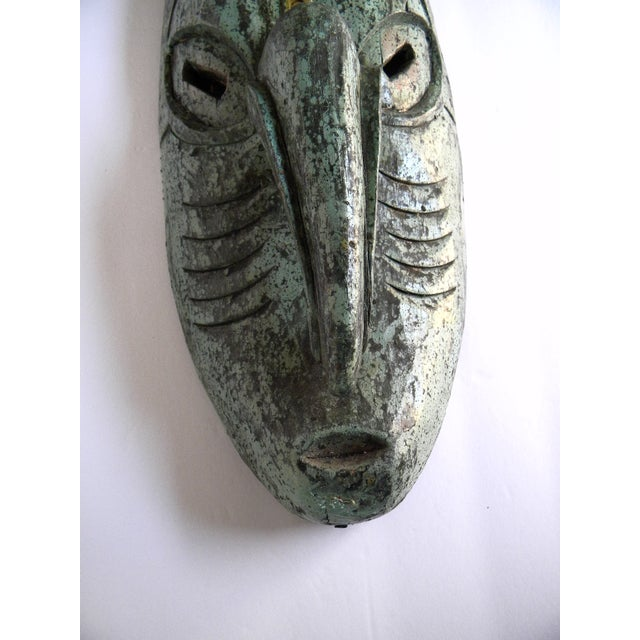 Wood Vintage African Solid Wood Stained Teal and Gray Mask For Sale - Image 7 of 10