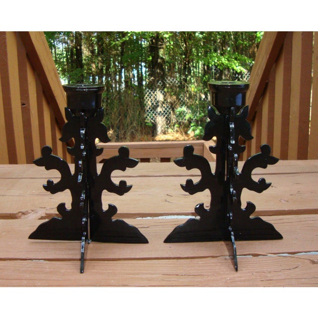 Modern Goth Black Metal Candle Holders - Image 6 of 10