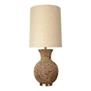 Mid Century Modern Sculpted Cork Table Lamp For Sale