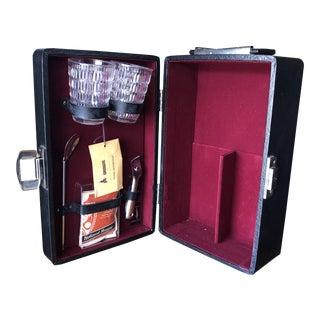 Black Leatherette Vintage Londonaire Portable Pub Travel Bar** For Sale