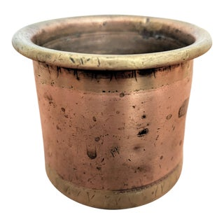 Antique One Cup Copper + Brass Measuring Cup For Sale